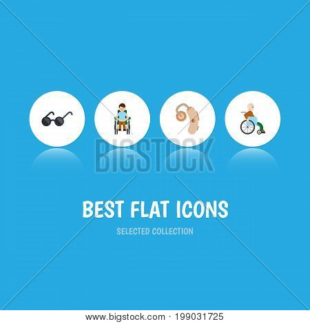 Flat Icon Handicapped Set Of Handicapped Man, Audiology, Disabled Person Vector Objects