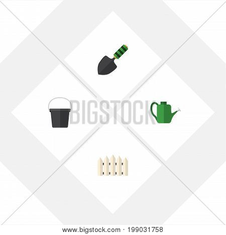 Flat Icon Farm Set Of Pail, Trowel, Wooden Barrier And Other Vector Objects