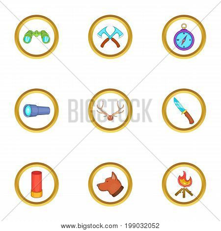 Hunting icons set. Cartoon set of 9 hunting vector icons for web isolated on white background