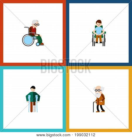 Flat Icon Handicapped Set Of Disabled Person, Injured, Wheelchair And Other Vector Objects