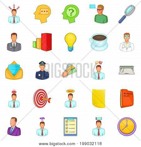 Telework icons set. Cartoon set of 25 telework vector icons for web isolated on white background