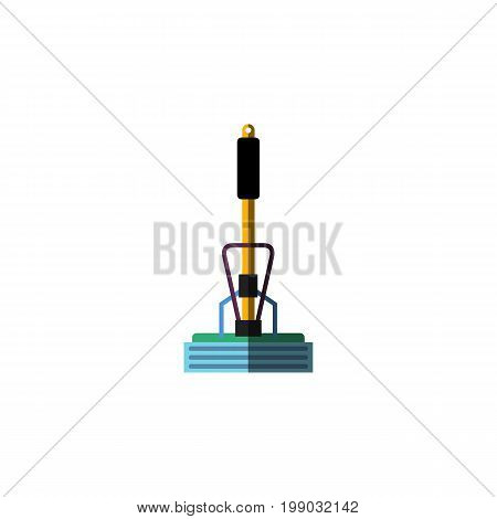 Broom Vector Element Can Be Used For Broom, Sweeper, Mop Design Concept.  Isolated Equipment Flat Icon.