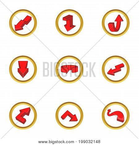 Red arrow icons set. Cartoon set of 9 red arrow vector icons for web isolated on white background
