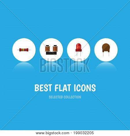 Flat Icon Technology Set Of Triode, Recipient, Resistance And Other Vector Objects