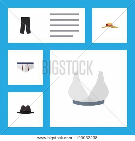 Flat Icon Dress Set Of Underclothes, Panama, Brasserie And Other Vector Objects