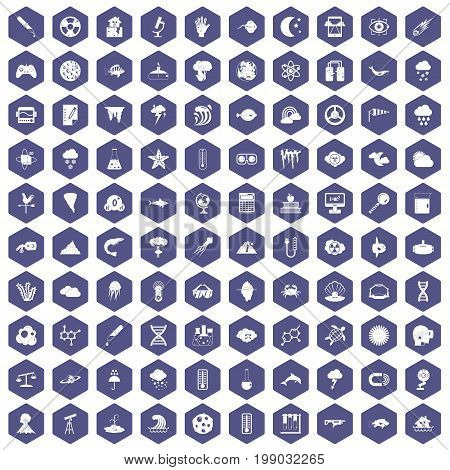 100 research icons set in purple hexagon isolated vector illustration