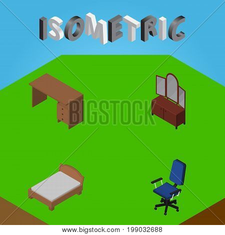 Isometric Furniture Set Of Bedstead, Office, Table And Other Vector Objects