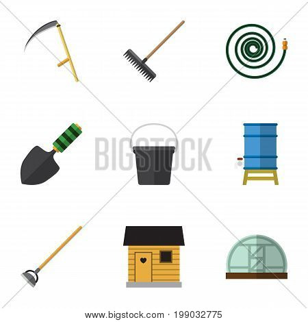 Flat Icon Garden Set Of Stabling, Pail, Hothouse And Other Vector Objects