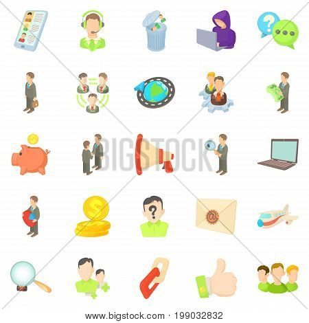 Contract work icons set. Cartoon set of 25 contract work vector icons for web isolated on white background