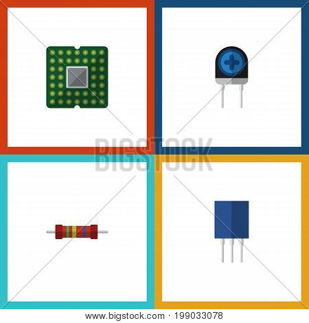 Flat Icon Device Set Of Resistance, Transducer, Receptacle And Other Vector Objects