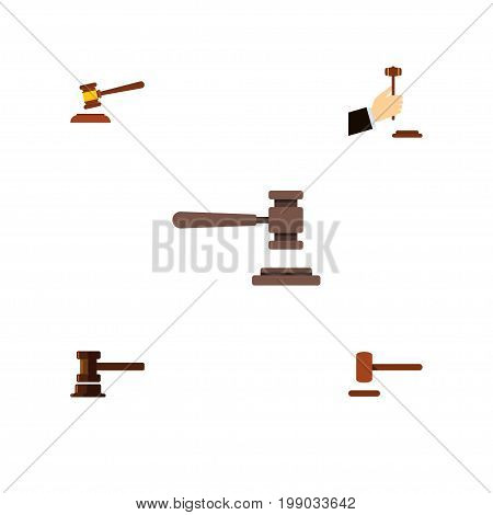 Flat Icon Hammer Set Of Hammer, Legal, Law And Other Vector Objects
