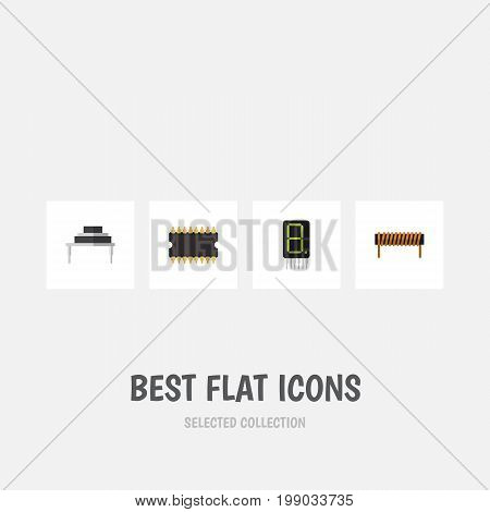 Flat Icon Technology Set Of Microprocessor, Bobbin, Display And Other Vector Objects