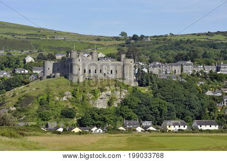 Harlech and it's Castle in Gwynedd North Wales a medieval castle built in the 13th century by Edward I during his invasion of Wales.