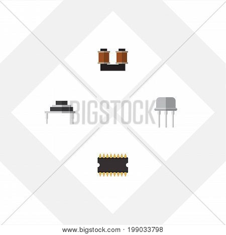 Flat Icon Electronics Set Of Coil Copper, Destination, Resist And Other Vector Objects