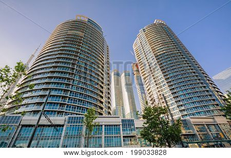 Toronto, Ontario, Canada, June 16, 2017 beautiful luxury inviting view of Toronto down town area residential condo stylish buildings and tower on the side