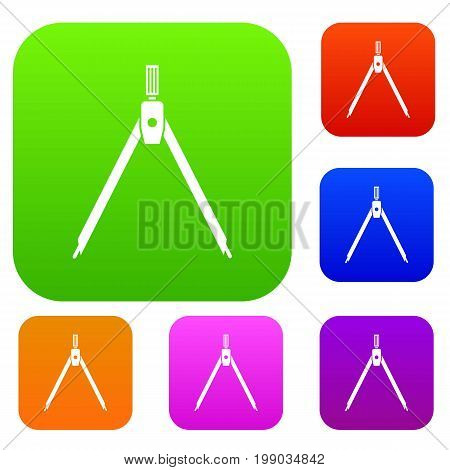 Drawing compass set icon in different colors isolated vector illustration. Premium collection