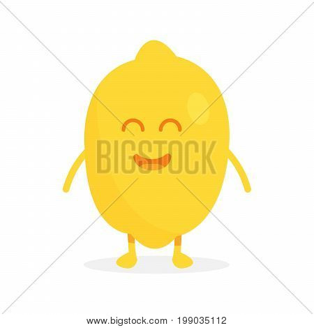 Cute Lemon Fruit Characters With Faces And Hands Vector Illustration