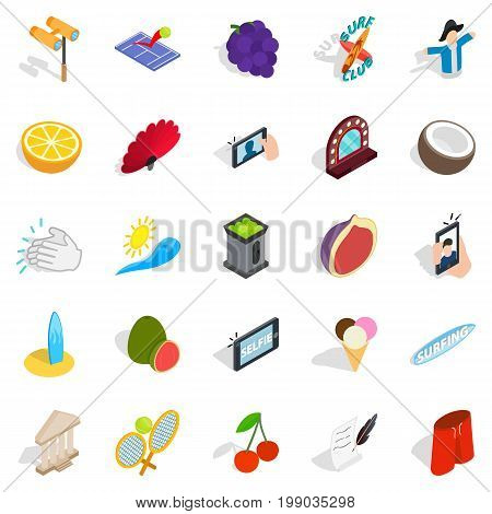 Joyfulness icons set. Isometric set of 25 joyfulness vector icons for web isolated on white background