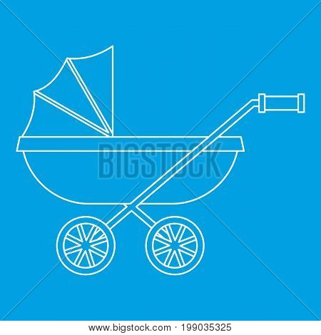 Baby stroller icon blue outline style isolated vector illustration. Thin line sign