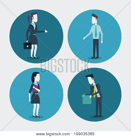 white background with colorful circle frames of businesswoman with briefcase and folder and businessman with folder vector illustration