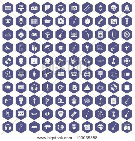 100 show business icons set in purple hexagon isolated vector illustration