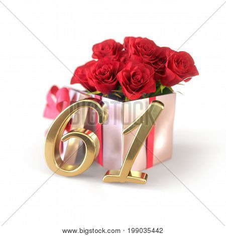 birthday concept with red roses in gift isolated on white background. 3D render - sixty-first . 61st