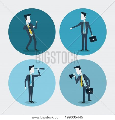 white background with colorful circle frames of business men with monocular megaphone and executive briefcase vector illustration