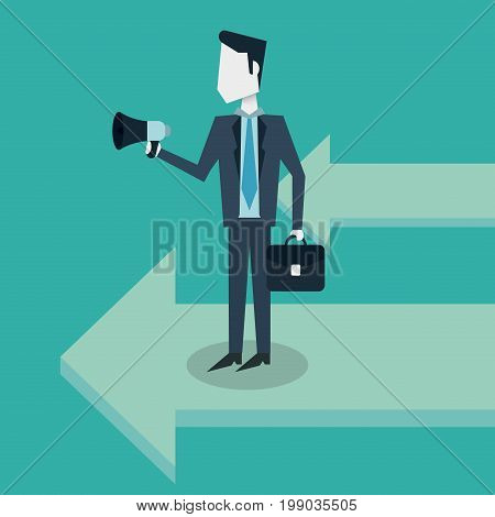 colorful background with arrows and businessman with executive briefcase and megaphone vector illustration
