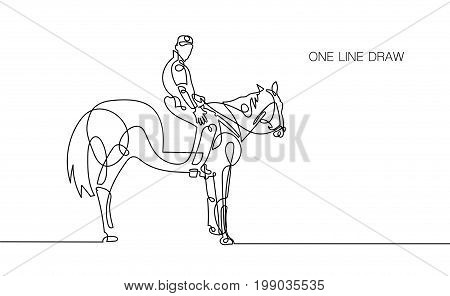 trendy continuous one line rider on horseback drawing isolated on white background, minimalism style vector illustration