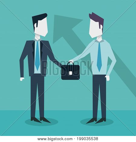 colorful background with businessmen exchanging executive briefcase vector illustration