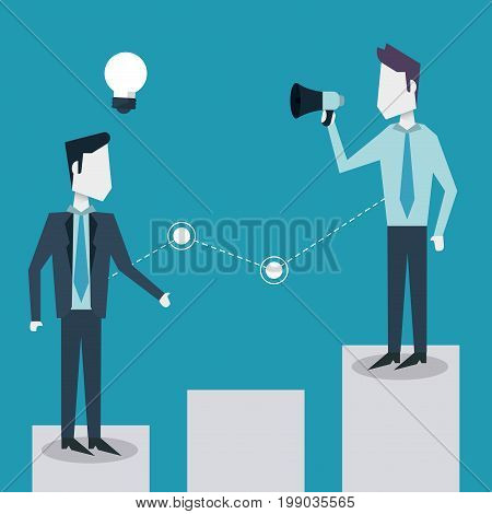 colorful background of business men on the economic status bar with megaphone vector illustration