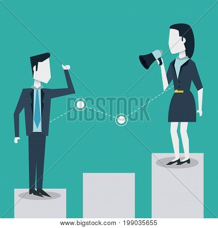 colorful background of business man and woman on the economic status bar and her with megaphone vector illustration