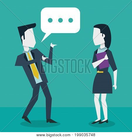 colorful background with dialogue between businessman and businesswoman vector illustration