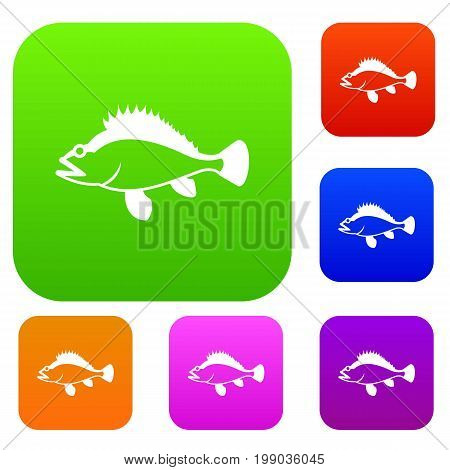 Rose fish, Sebastes norvegicus set icon in different colors isolated vector illustration. Premium collection
