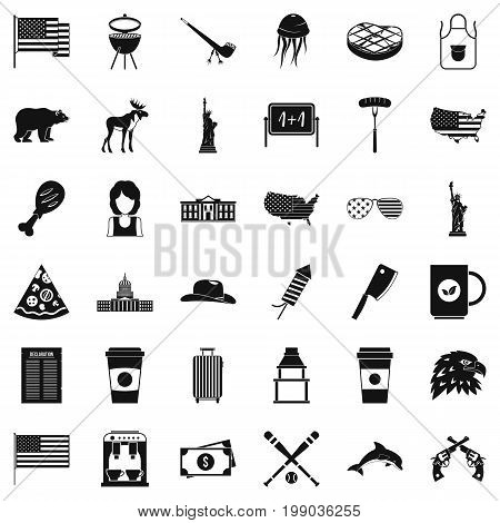 Uncle sam icons set. Simple style of 36 uncle sam vector icons for web isolated on white background