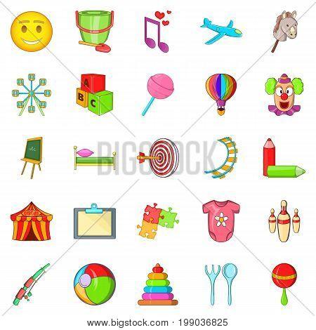 Schoolchildren icons set. Cartoon set of 25 schoolchildren vector icons for web isolated on white background