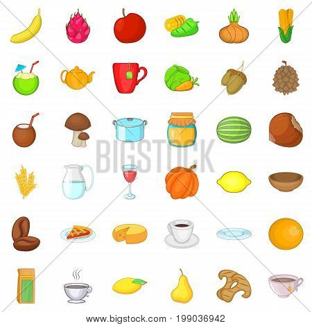 Vegetarian sale icons set. Cartoon style of 36 vegetarian sale ector icons for web isolated on white background