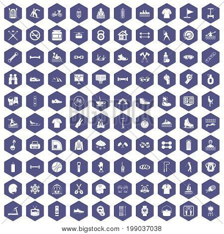 100 sport life icons set in purple hexagon isolated vector illustration