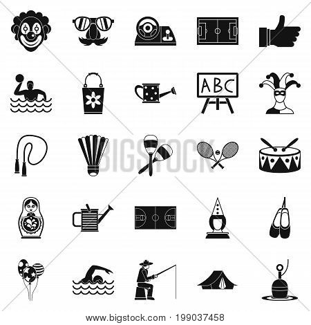 Children entertainment icons set. Simple set of 25 children entertainment vector icons for web isolated on white background