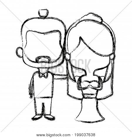 cute couple husband wife in wedding suit  together vector illustration