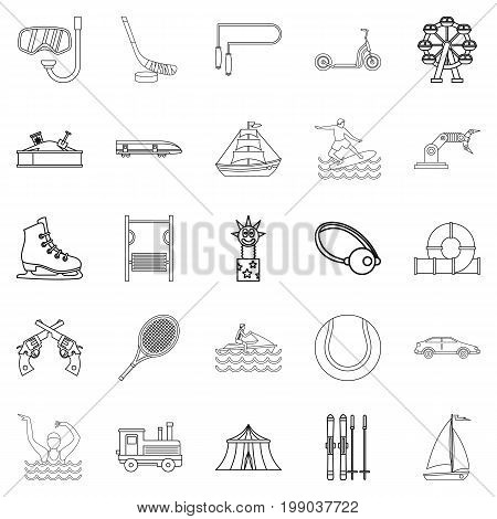 Physical culture icons set. Outline set of 25 physical culture vector icons for web isolated on white background