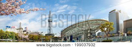 NAGOYA JAPAN - April 12, 2016:Oasis 21 and TV Tower in Sakae. Oasis 21 is a modern facility located adjacent to Nagoya TV Tower in Sakae.They are public location no restrict in copy or use