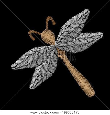 Embroidery stitches imitation dragon fly isolated on the black background. Fashion embroidery insect. Embroidery dragon fly vector.