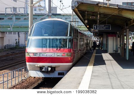 NAGOYA JAPAN - MAY 04, 2016: Meitetsu Limited Express travels on Toyohashi Line in Japan. Meitetsu Panorama Express train
