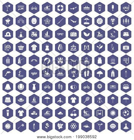 100 summer icons set in purple hexagon isolated vector illustration