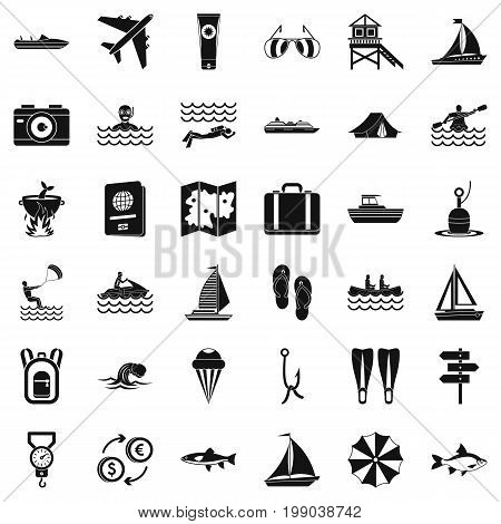 Warm water icons set. Simple style of 36 warm water vector icons for web isolated on white background