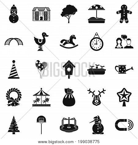 Playschool icons set. Simple set of 25 playschool vector icons for web isolated on white background