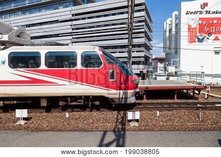 NAGOYA JAPAN - MAY 04, 2016: Meitetsu Limited Express travels on Toyohashi Line in Japan. Meitetsu Panorama Express train