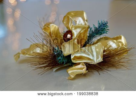 close up of a vintage Christmas corsage