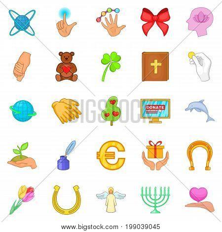 Benignity icons set. Cartoon set of 25 benignity vector icons for web isolated on white background